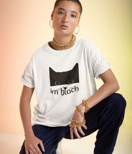 kedi tasarımlı kadın tişört