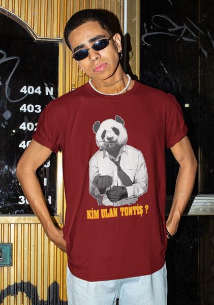 panda tisortu beyaz erkek tisort