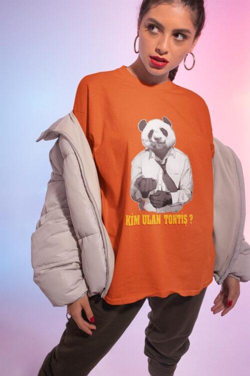 panda tasarımlı kadın tişörtü