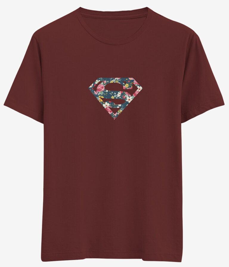 cicekli superman logolu tisort bordo e1621185301221