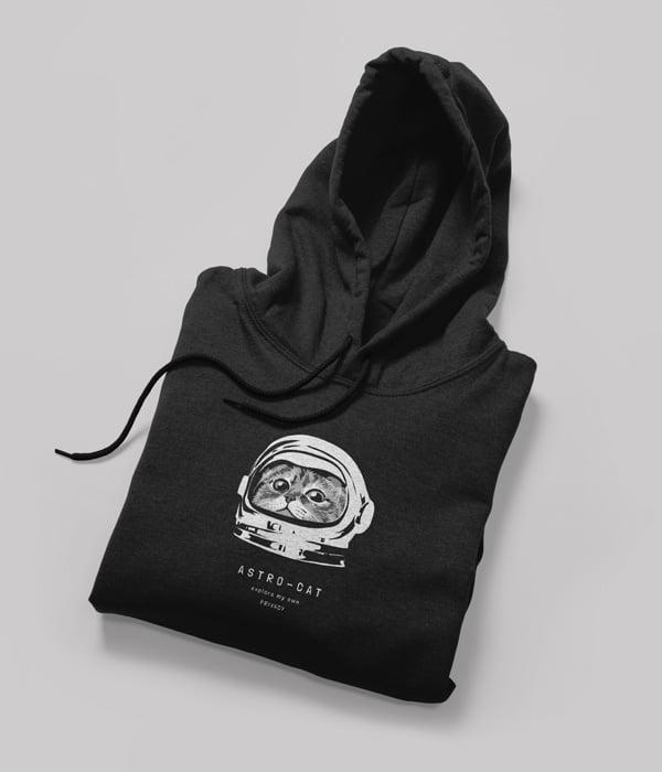 kedili tasarim sweatshirt astro cat antrasit