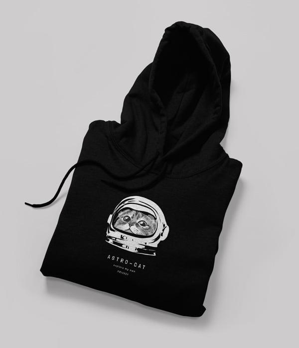 kedili tasarim sweatshirt astro cat siyah