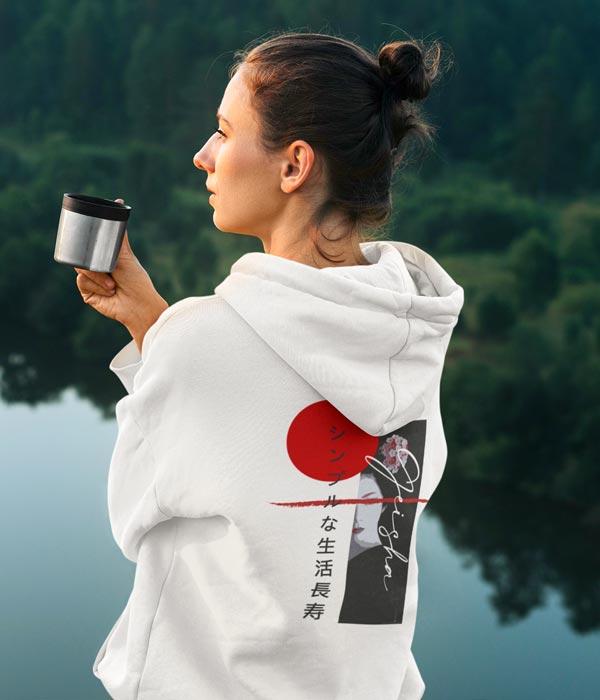 sweatshirt kapsonlu japon yazili model arka