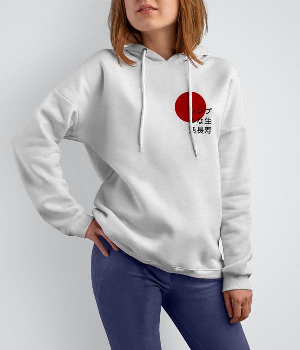 sweatshirt kapsonlu japon yazili model on