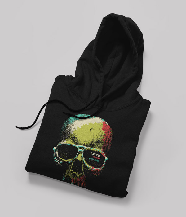 siyah sweatshirt tasarimi music kuru kafa