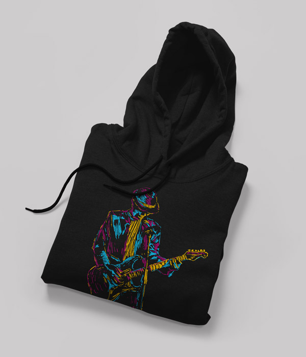 siyah sweatshirt tasarimi music man